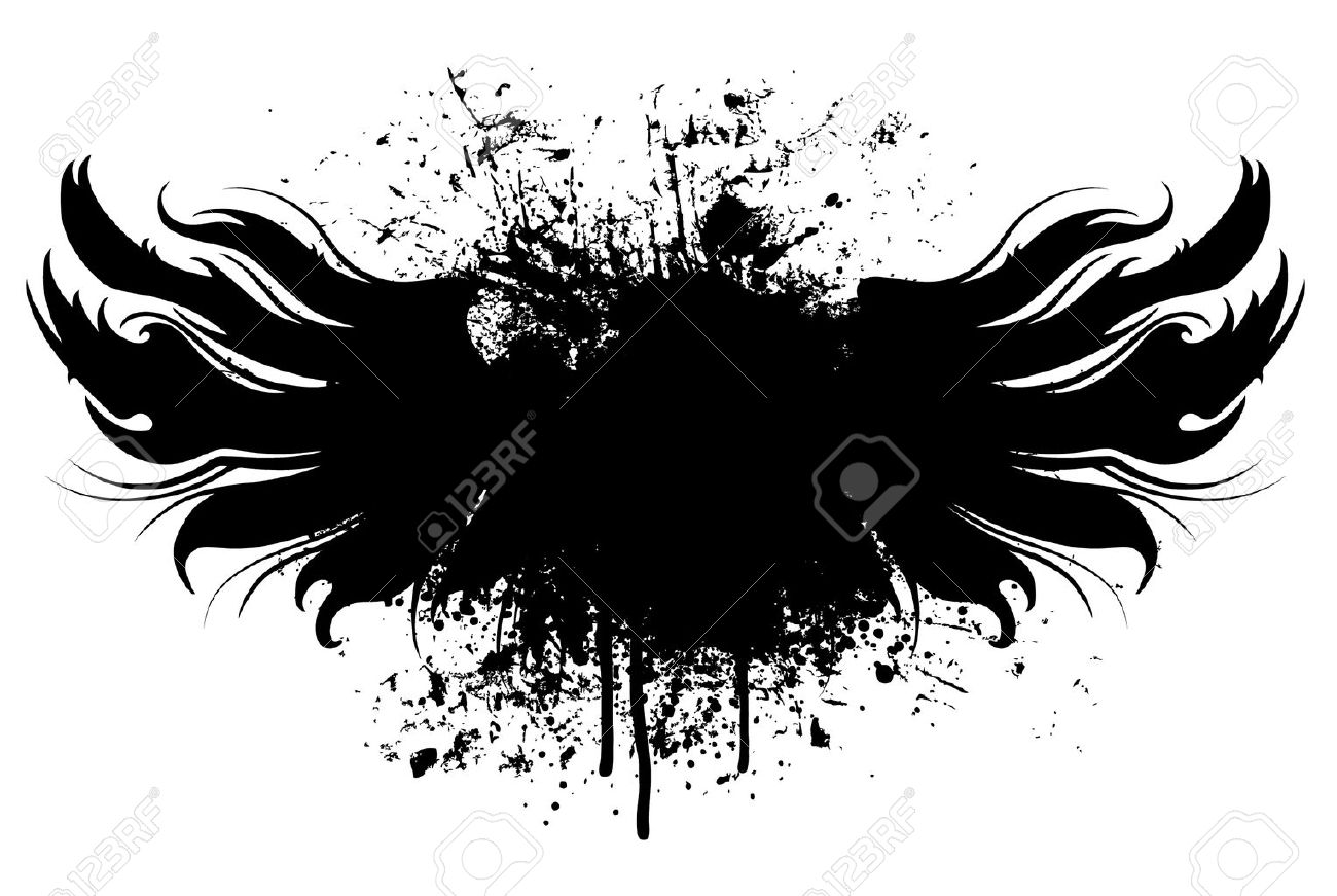 Black grunge wings illustration with paint splatter background Stock Vector - 4846104