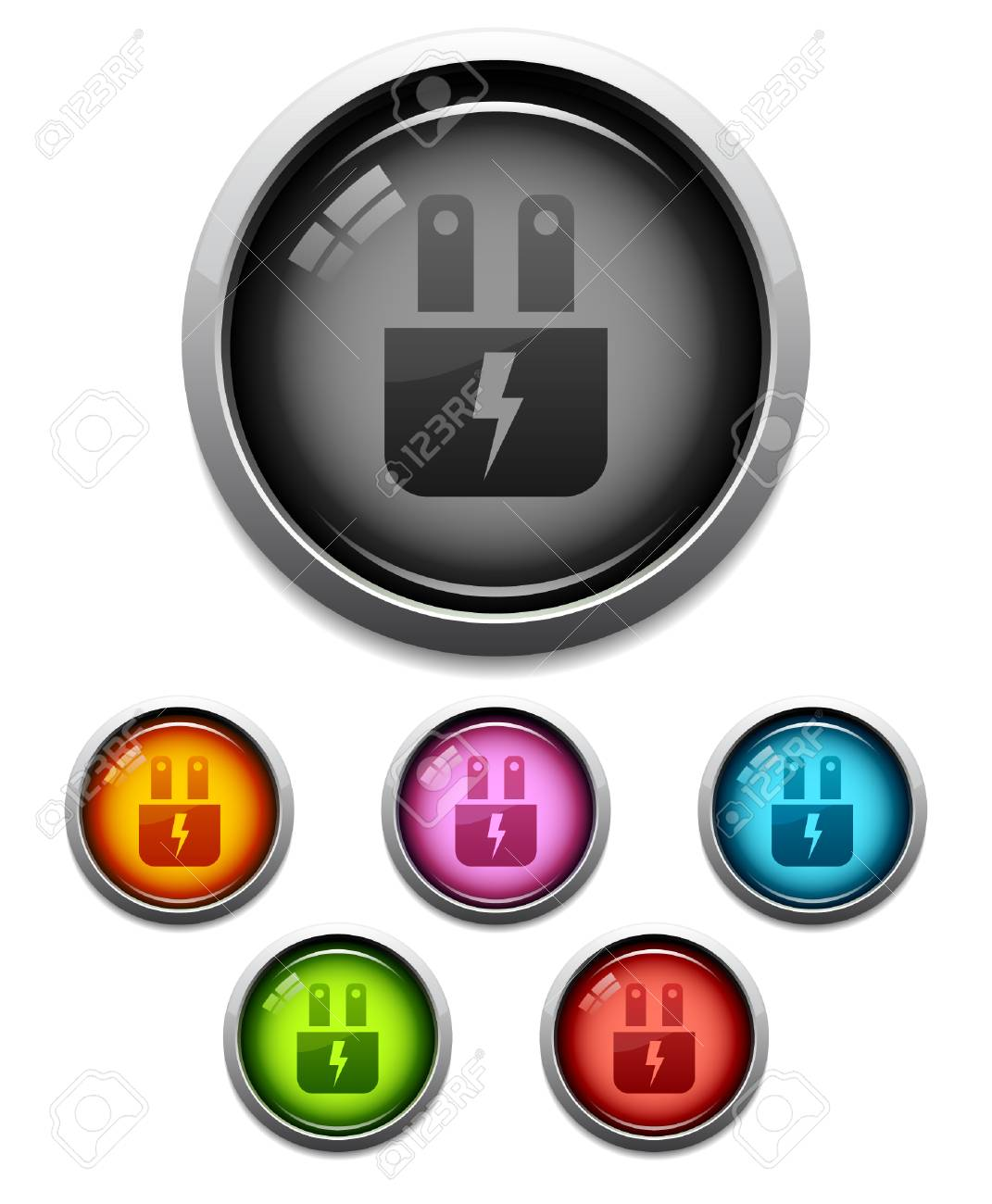 Glossy Electric Plug Button Icon Set In 6 Colors Royalty Free ...