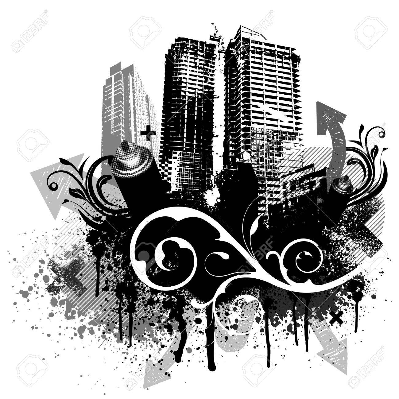 Black city buildings and graffiti grunge floral arrow design Stock Vector - 5791068