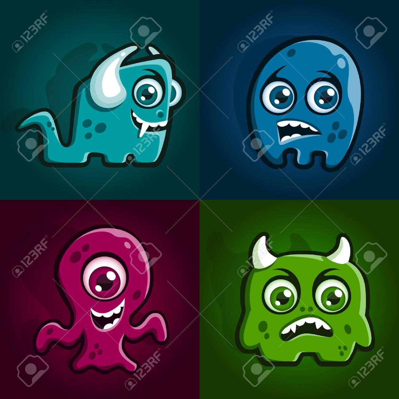 Set of four cartoon monster characters creatures Stock Vector - 8121212