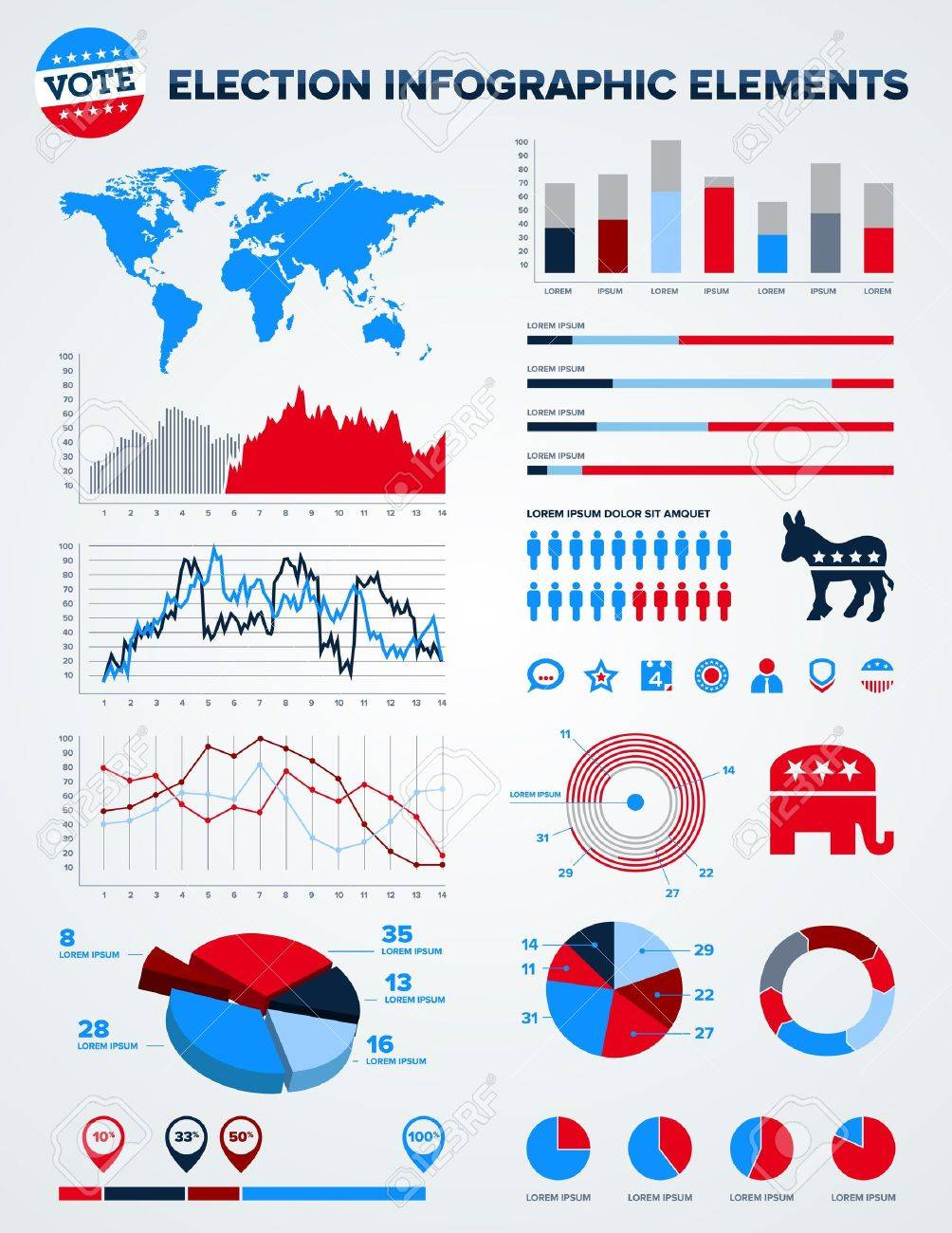 Set of election infographic charts, icons, and design elements Stock Photo - 11870040