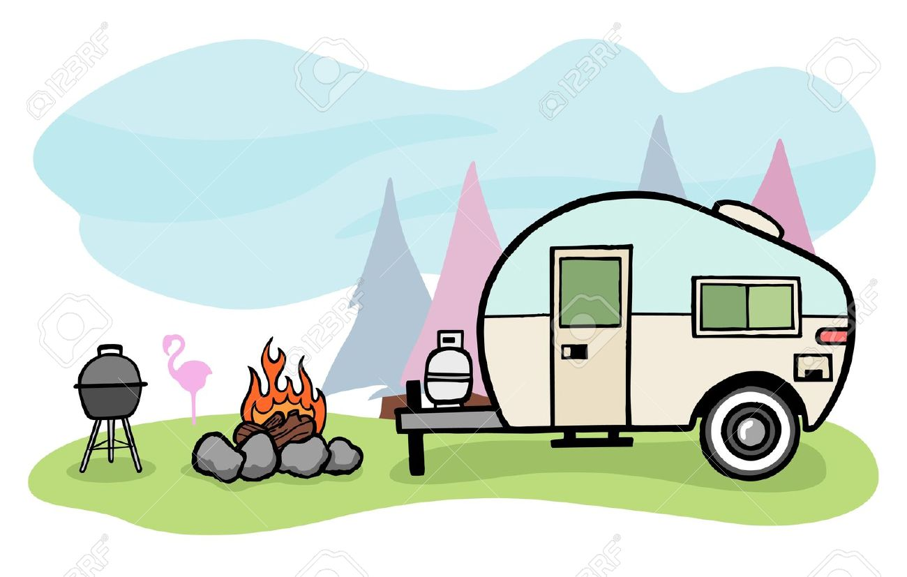 Vintage Style Camper Trailer And Camping Scene Stock Vector