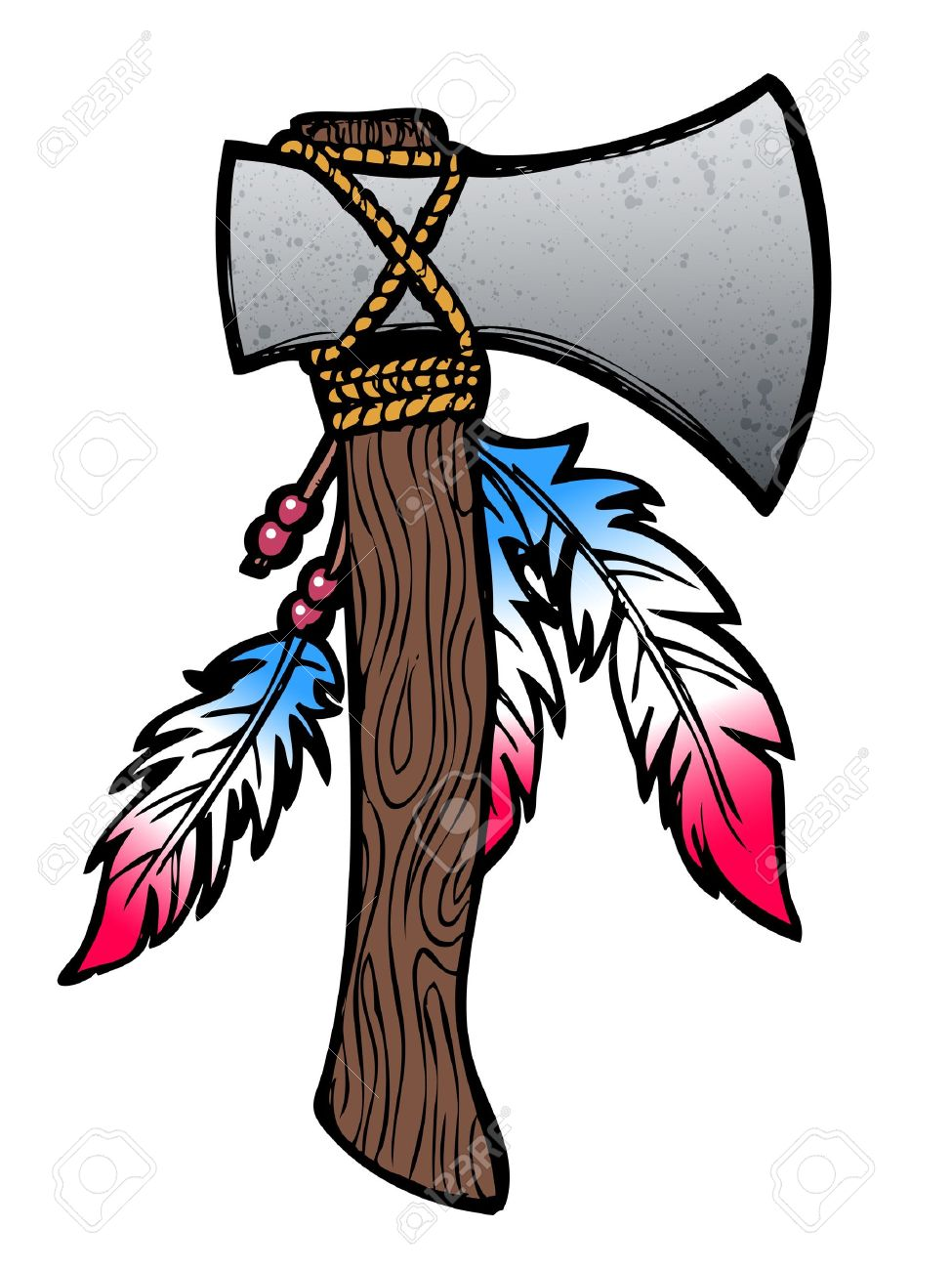 Authentic Native American Tomahawk Drawing