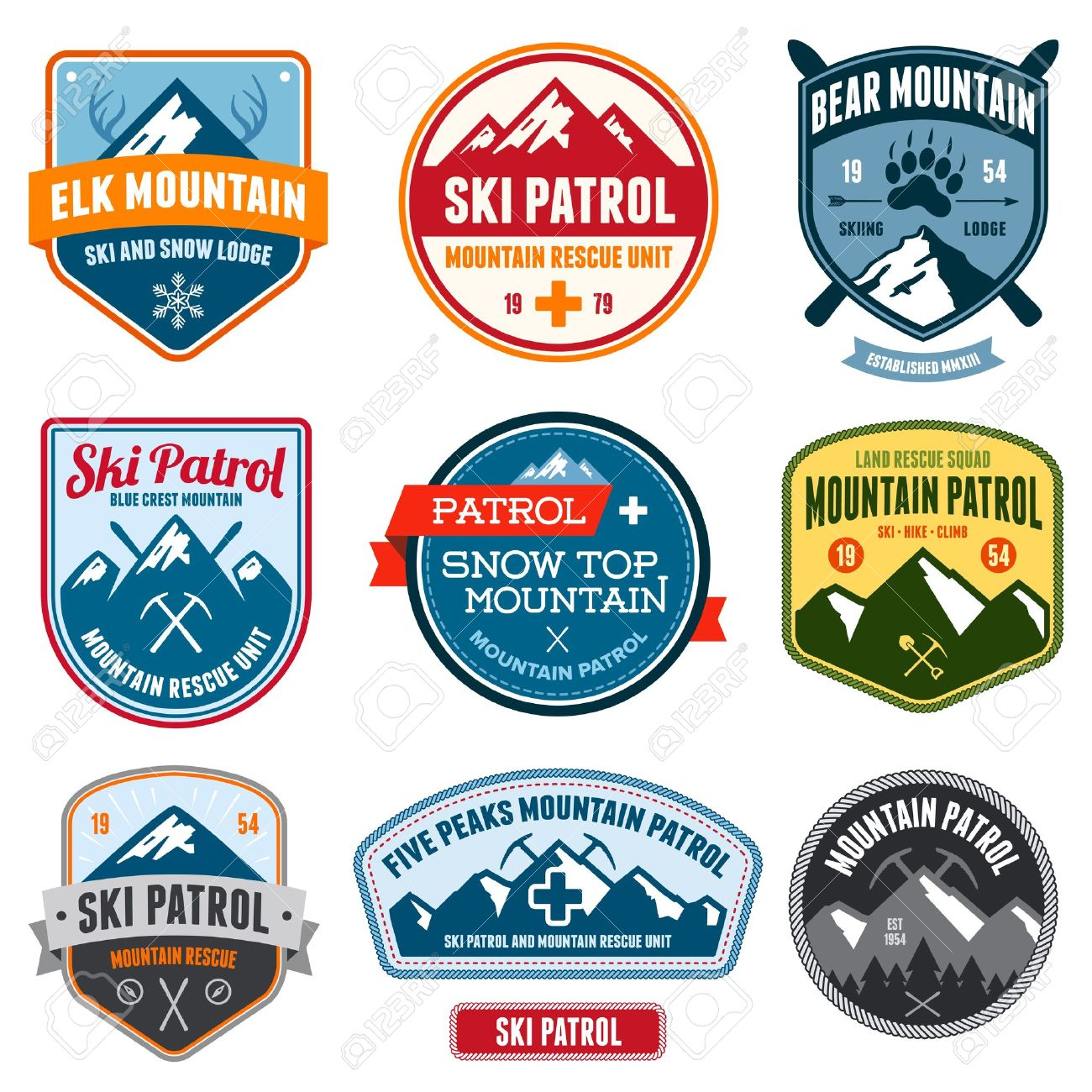 Set of ski patrol mountain badges and patches - 17766663