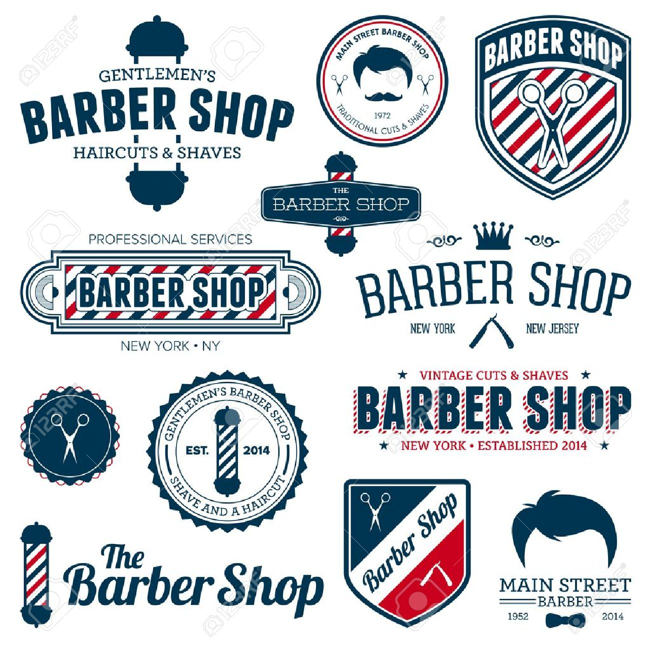 Set Of Vintage Barber Shop Graphics And Icons Stock Vector
