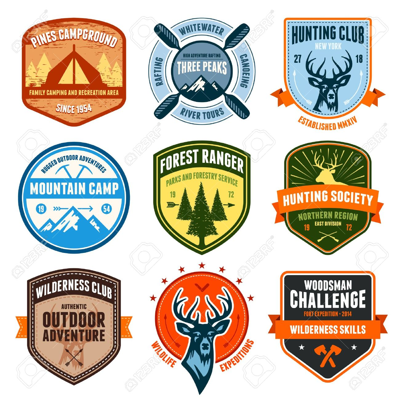 Set of outdoor adventure badges and hunting emblems Stock Vector - 18025984