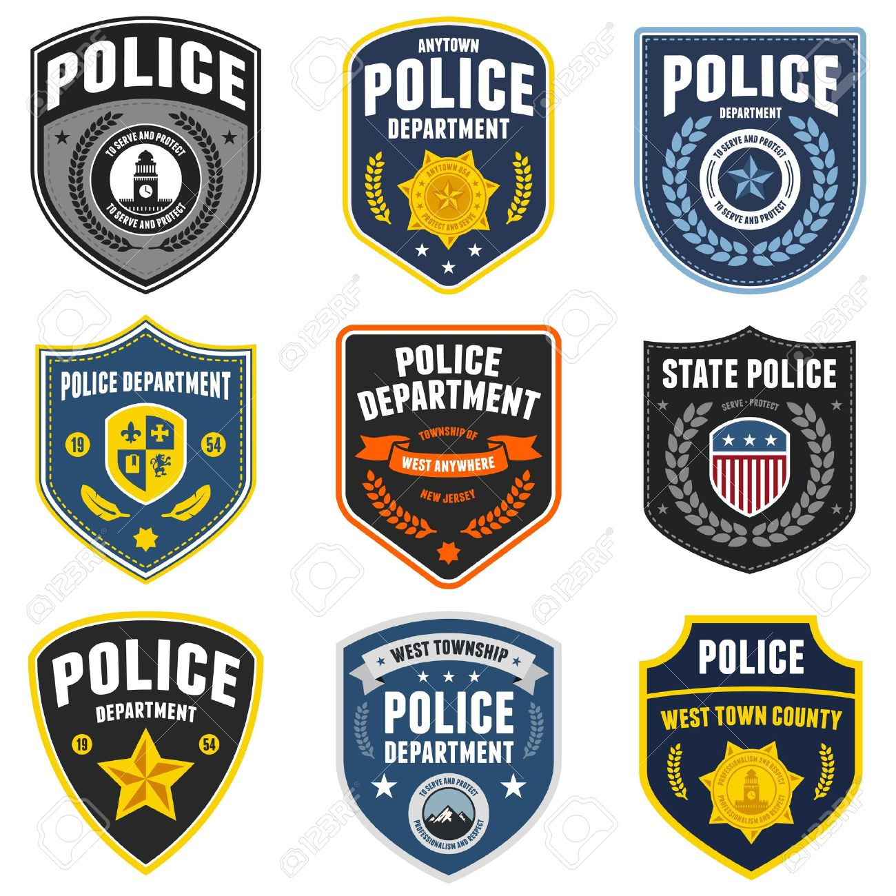 Set of police law enforcement badges and patches Stock Vector - 18412688
