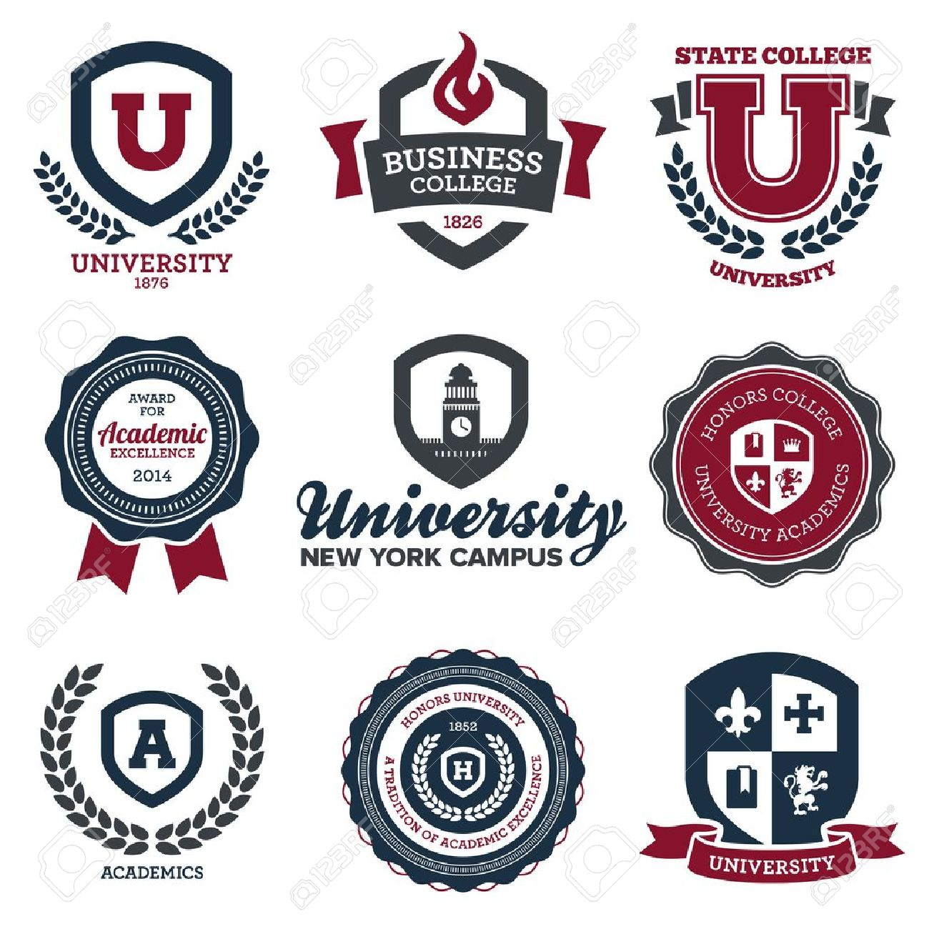 Set of university and college school crests and emblems - 20482460