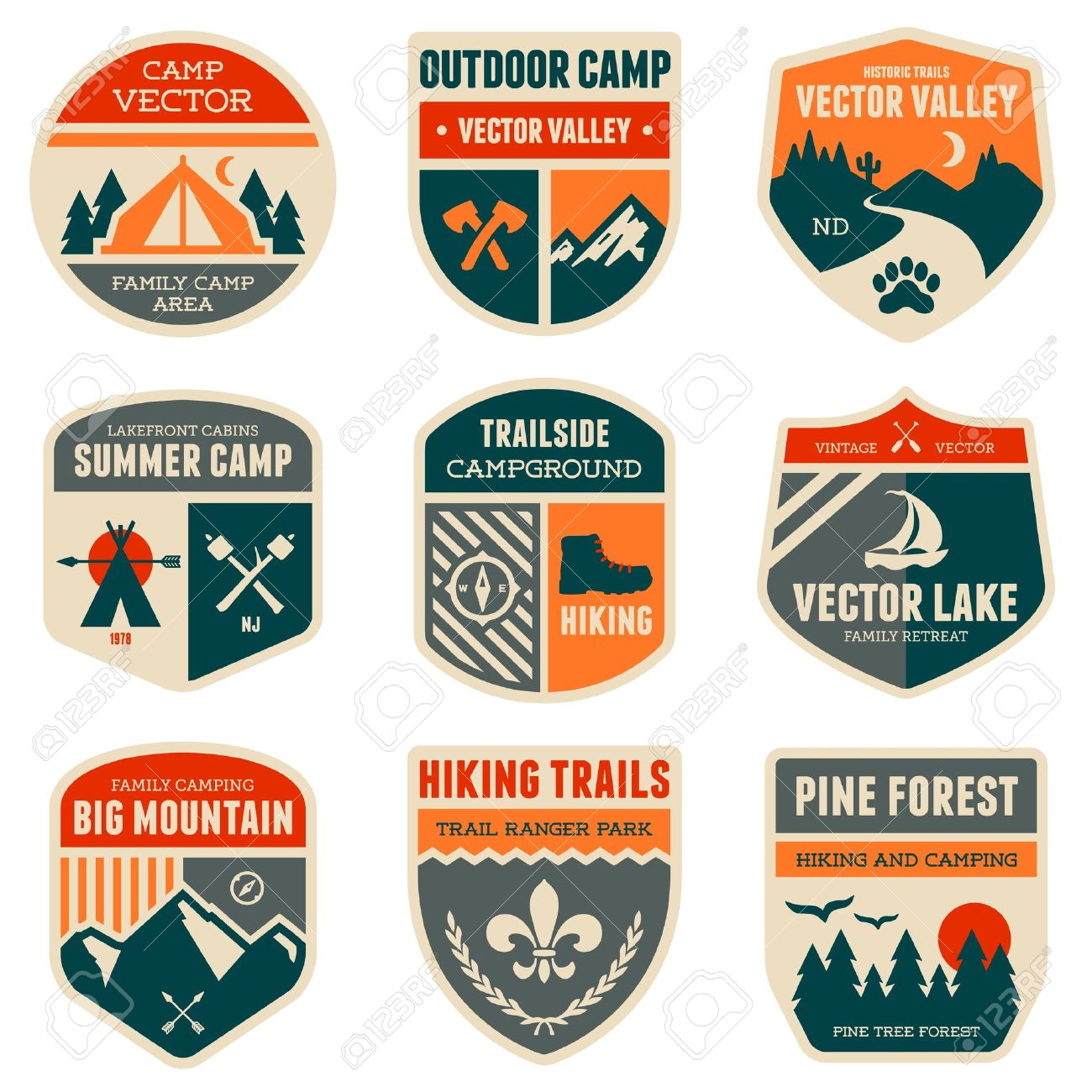Set of vintage outdoor camp badges and emblems Stock Vector - 20911945