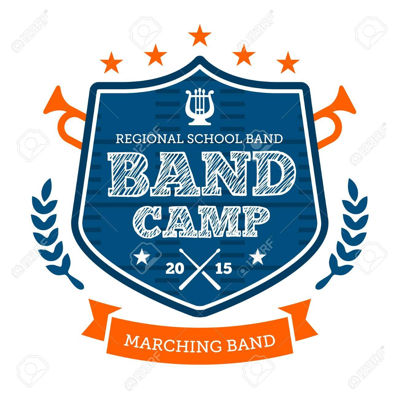 Band Camp Marching Drum Corp Emblem Badge Royalty Free Cliparts