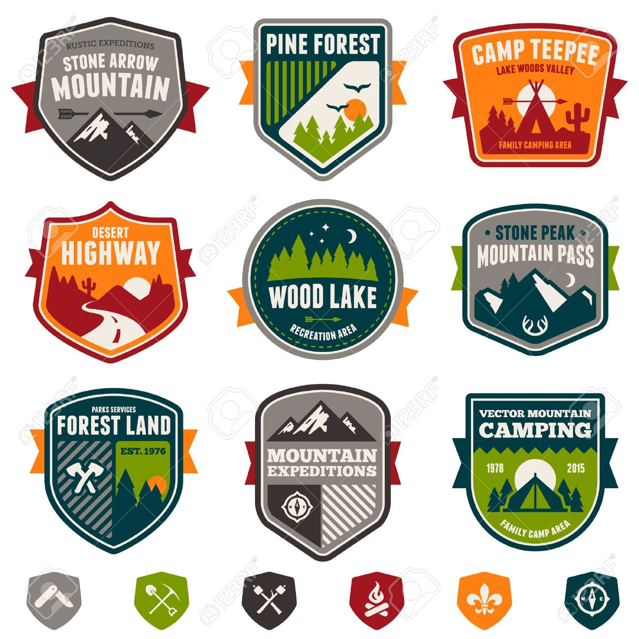 Set Of Vintage Woods Camp Badges And Travel Emblems Stock Vector