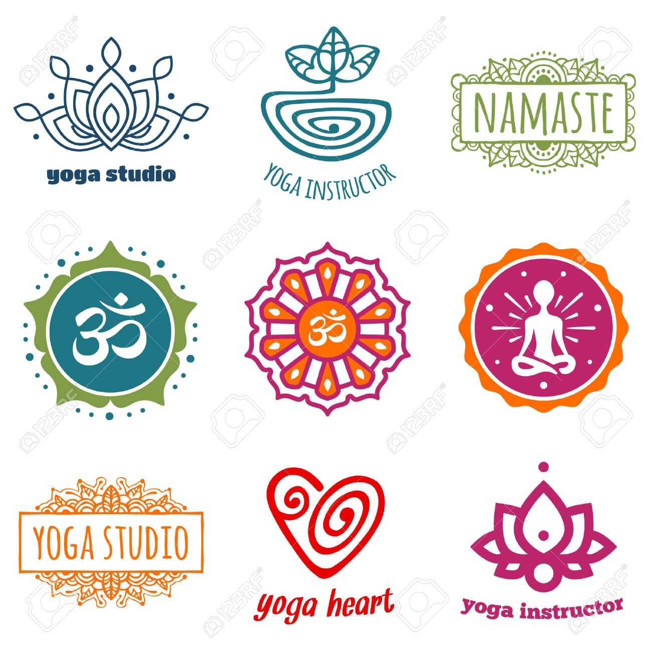 Set of yoga and meditation graphics and symbols royalty free set of yoga and meditation graphics and symbols stock vector 26622407 biocorpaavc