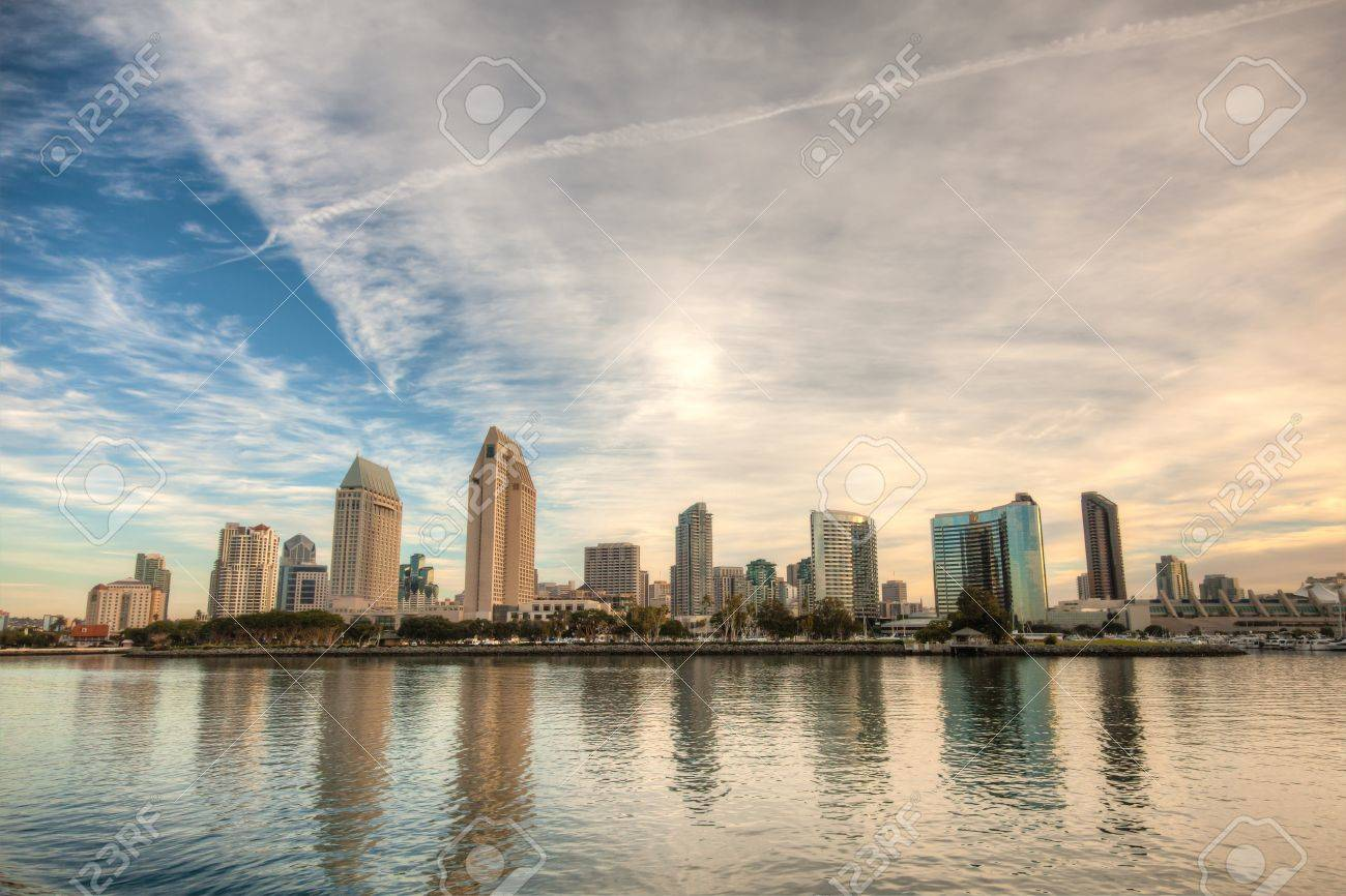 Skyline Of San Diego California On A Bright Sunny Day Stock Photo