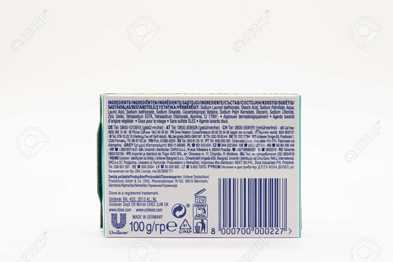 Largs, Scotland, UK - March 14, 2020: One Box of Dove sensitive traditional soap recommended for general hand washing and Carona prevention measures. - 142235479