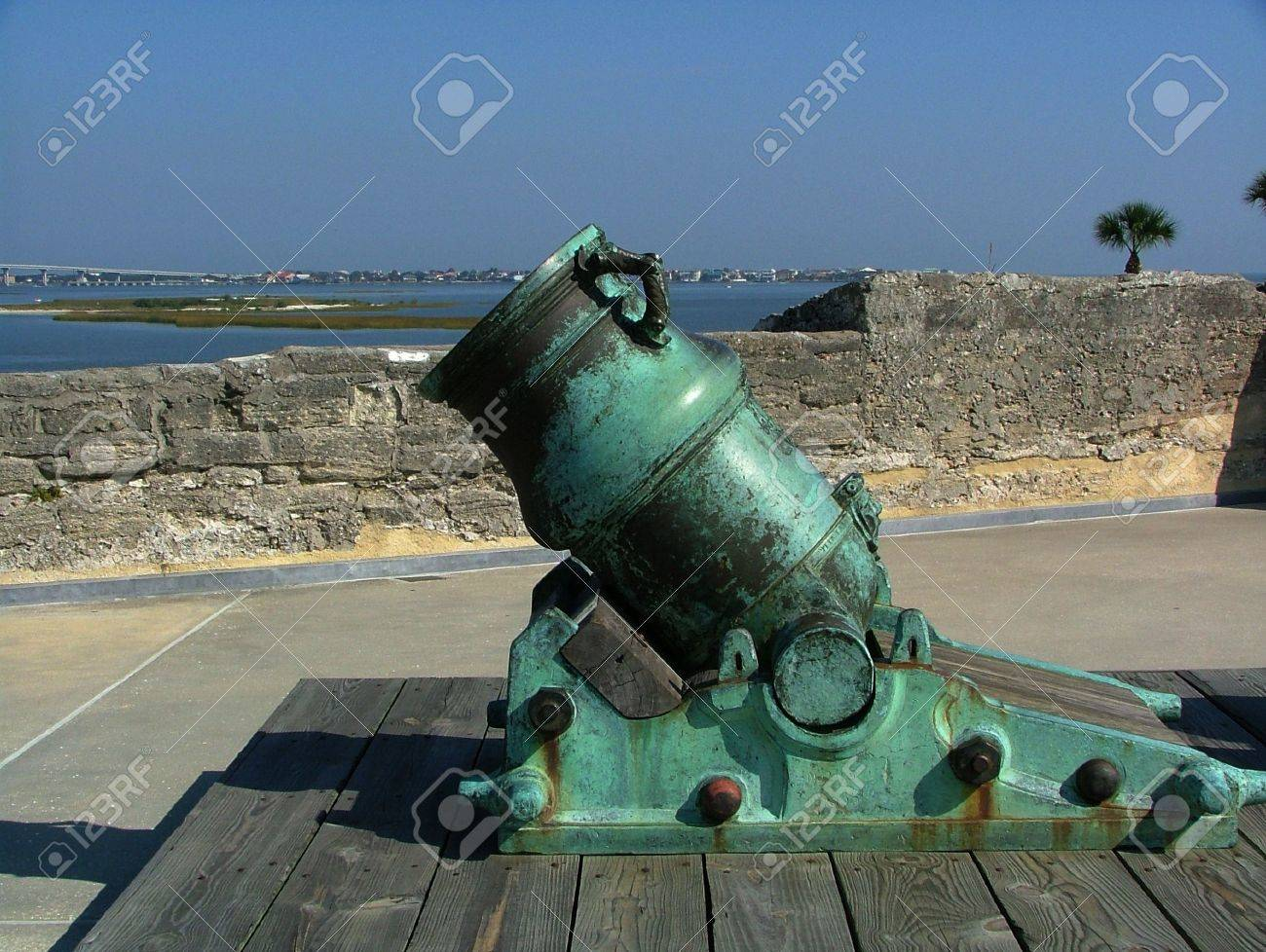Short Ornate Spanish Cannon With Green Patina At The Castillo ...