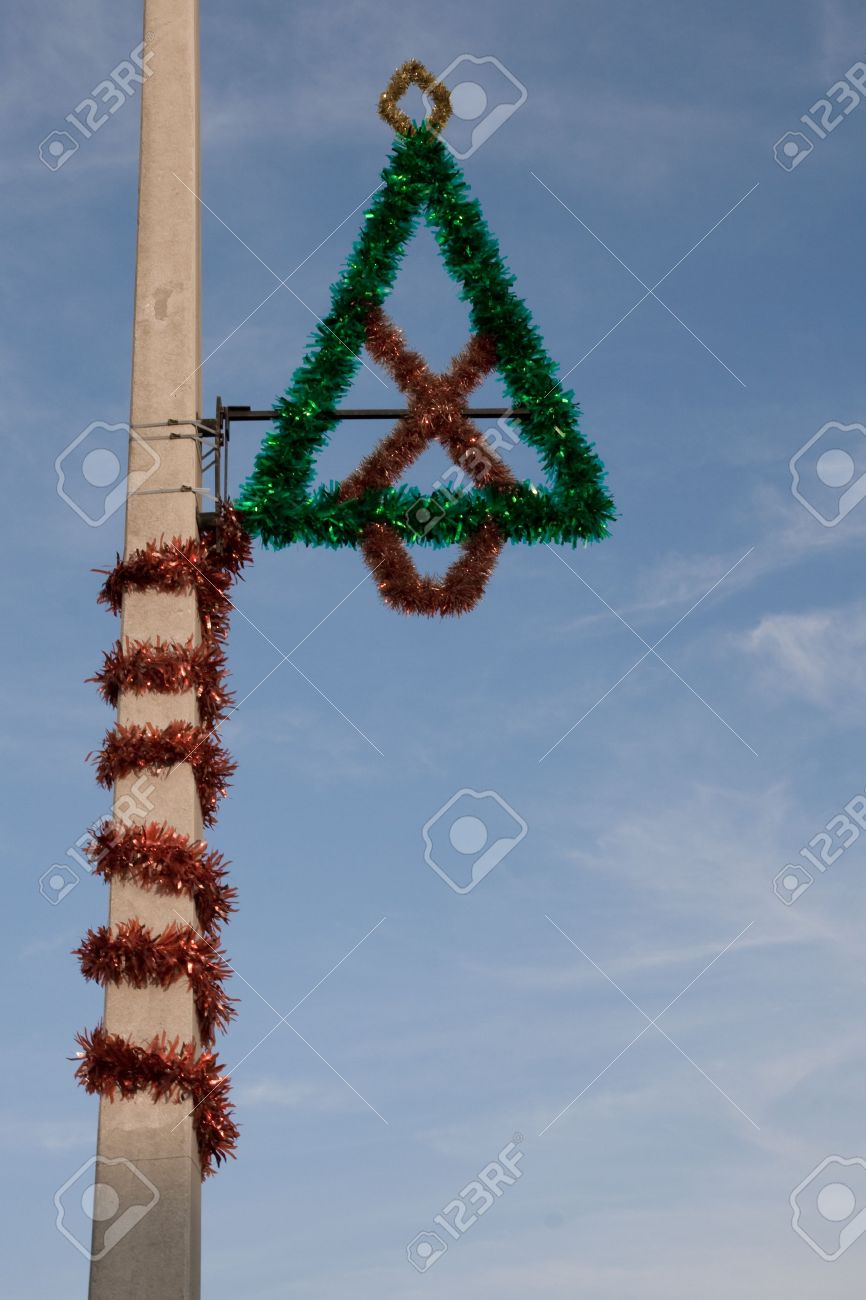 christmas decoration on a street light post stock photo 2281620