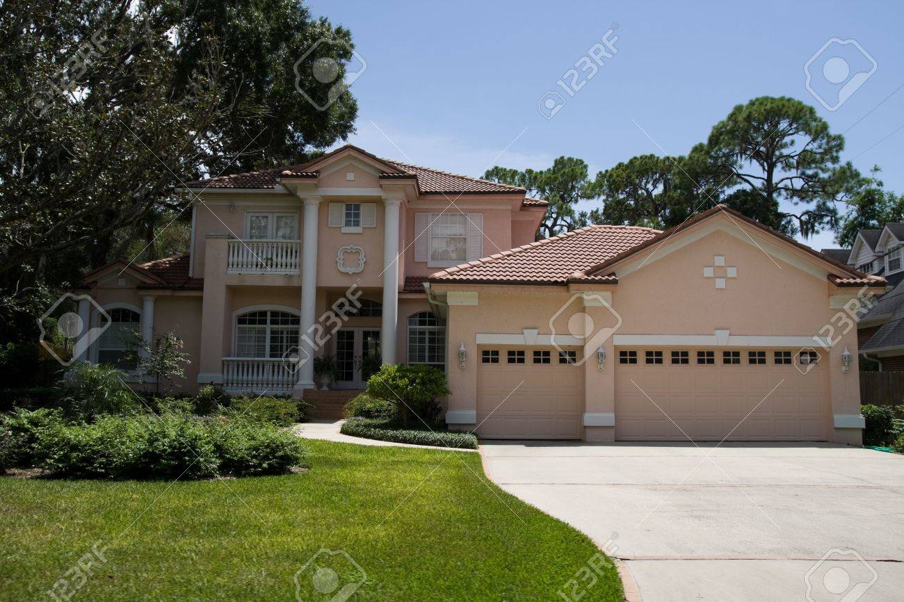 Fancy house with nice landscaping stock photo 3660971