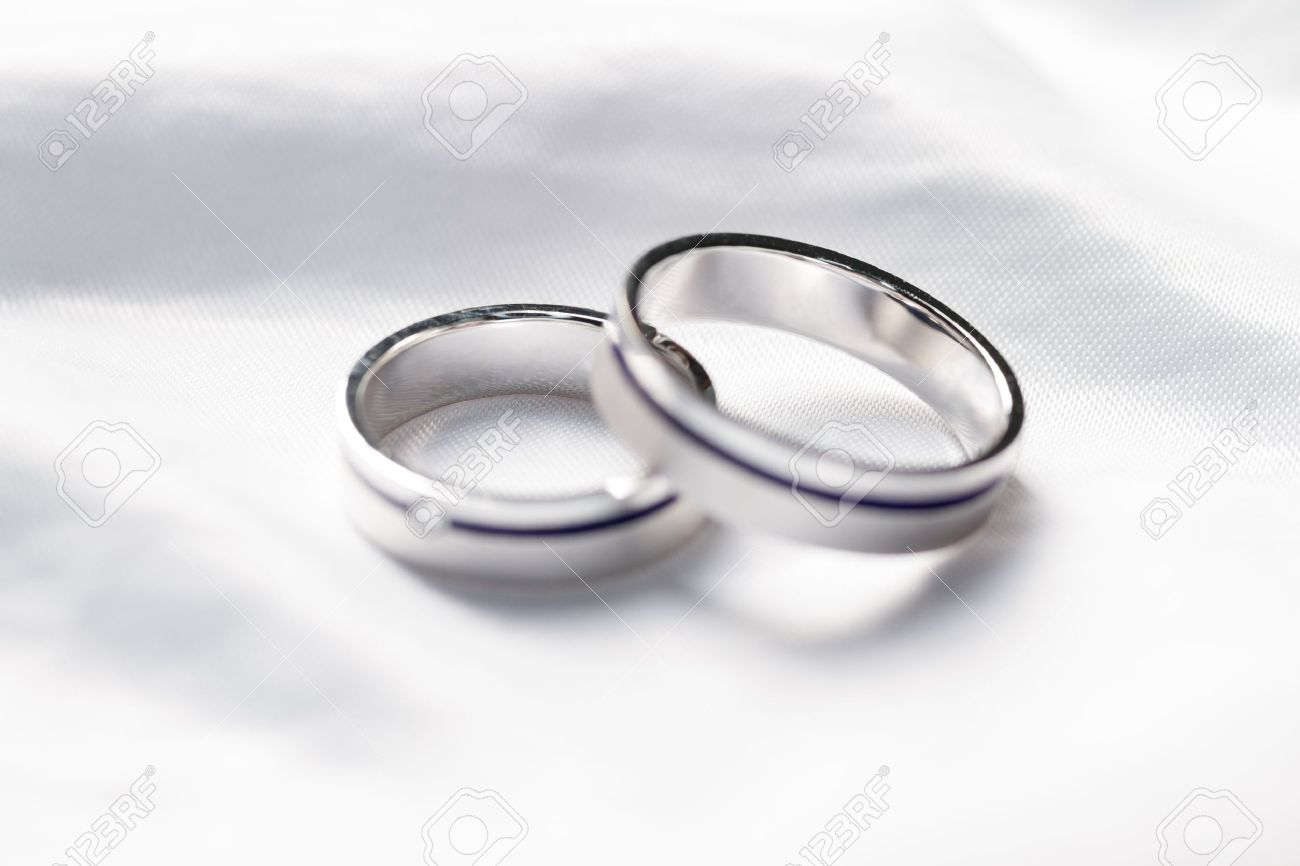 Two weddings rings on a background a fabric Stock Photo - 14215464