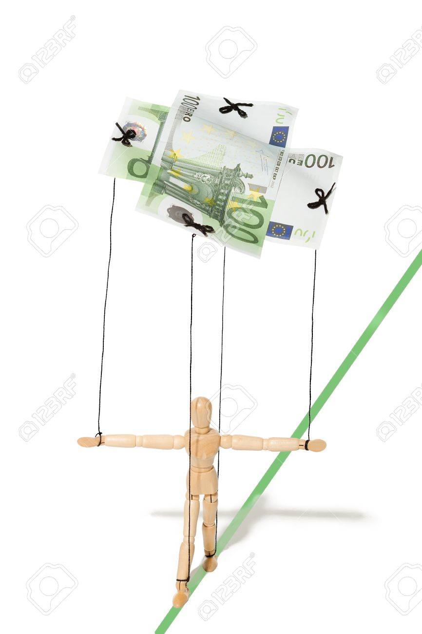 concept, a puppet controlled by money Stock Photo - 18233843