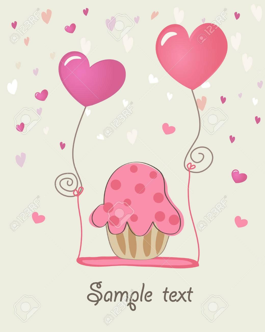 Cupcake. Valentine card. Stock Vector - 6219746
