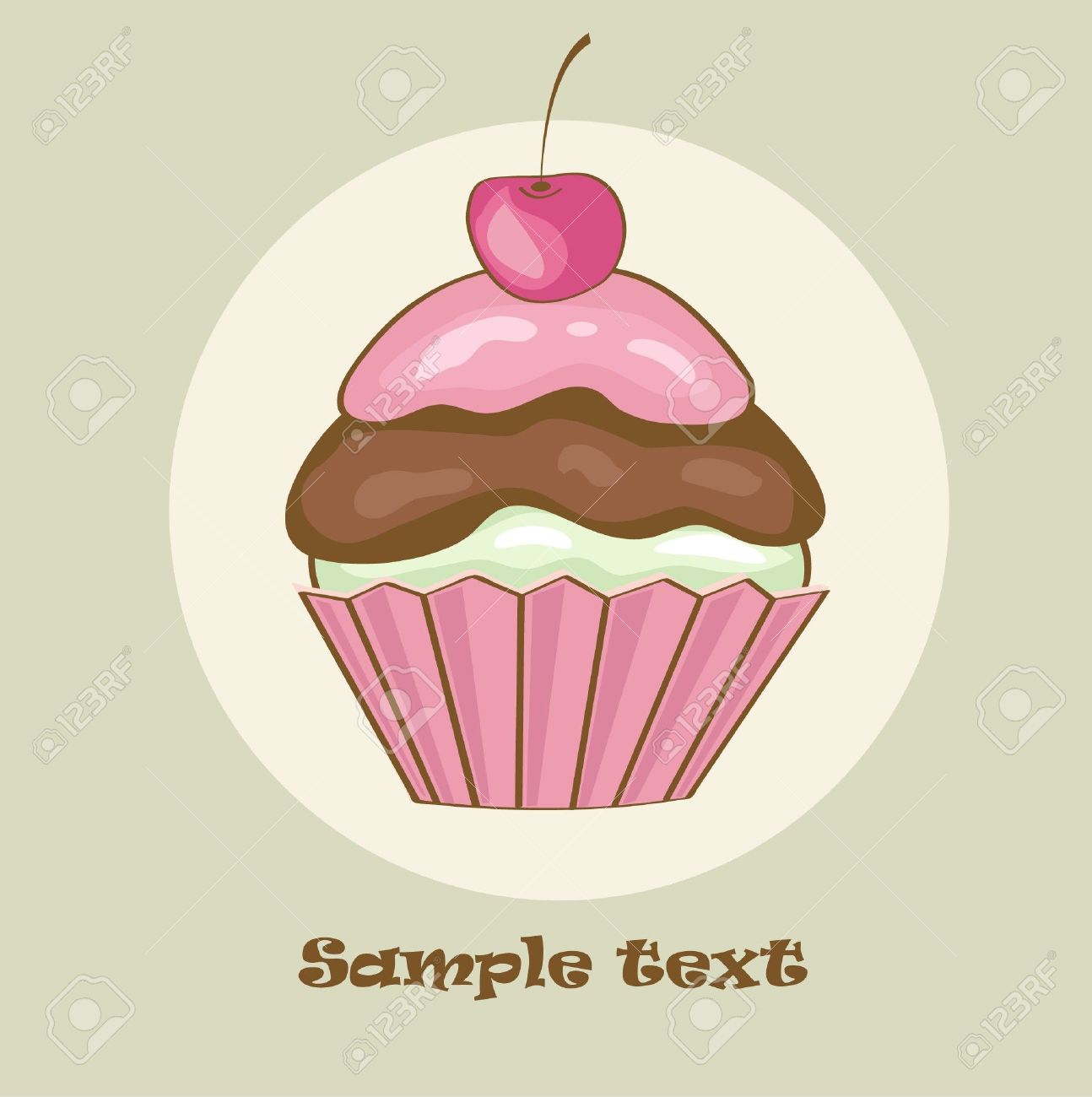 Birthday card with cherry cupcake.  illustration Stock Vector - 7707138