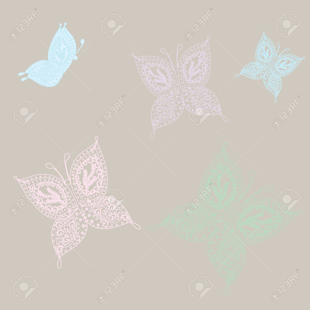 Set of vintage  butterflies. Stock Vector - 7706950