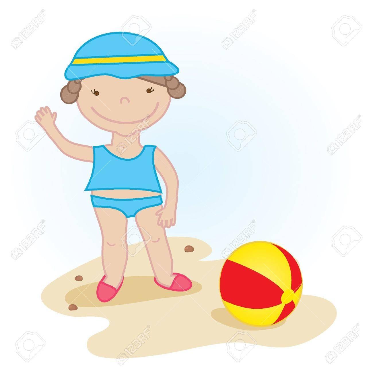 Cute little baby girl on the beach Stock Vector - 7707143