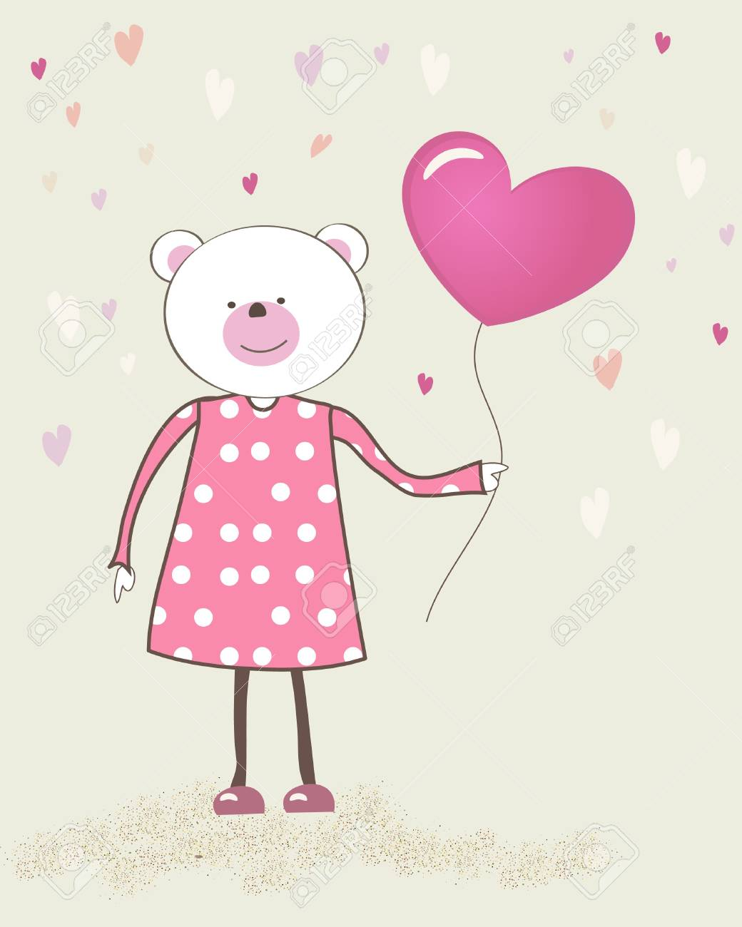 Bear girl with heart balloon. Stock Photo - 7763573