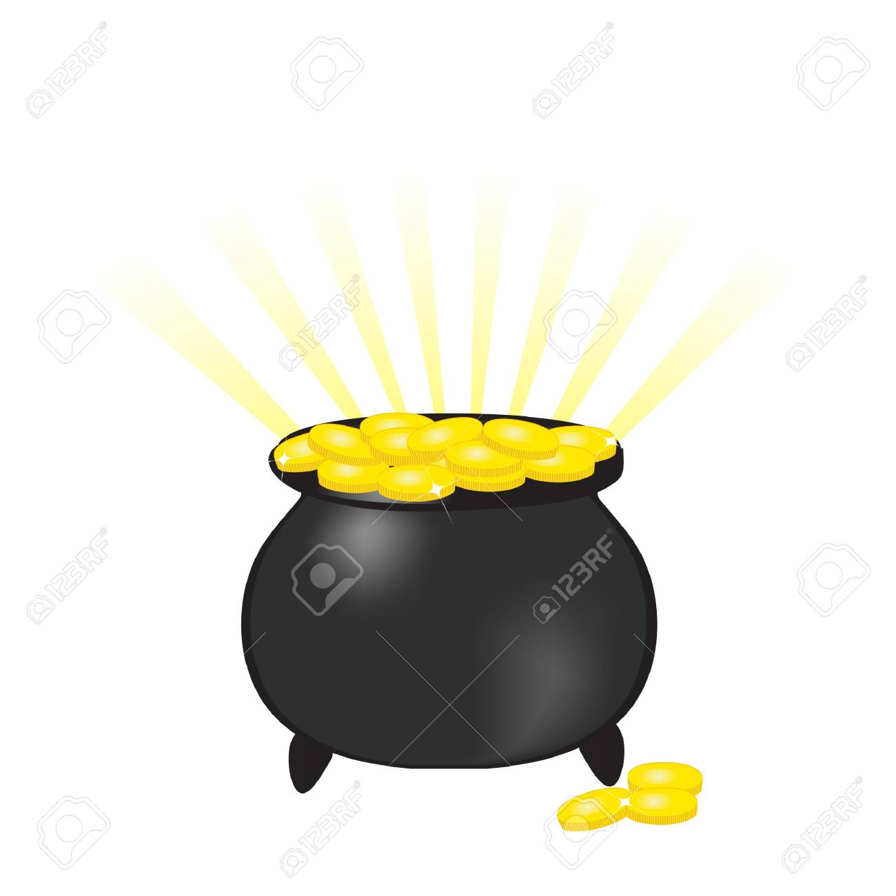 Pot with gold coins Stock Photo - 7763630