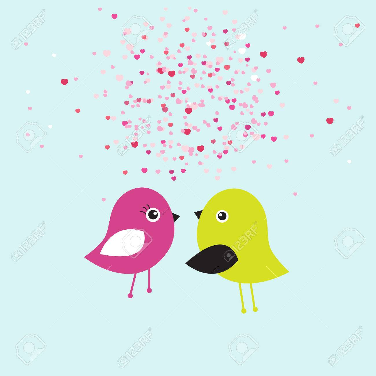 Cute Valentines Card With Birds Couple In Love Royalty Free – Bird Valentine Card