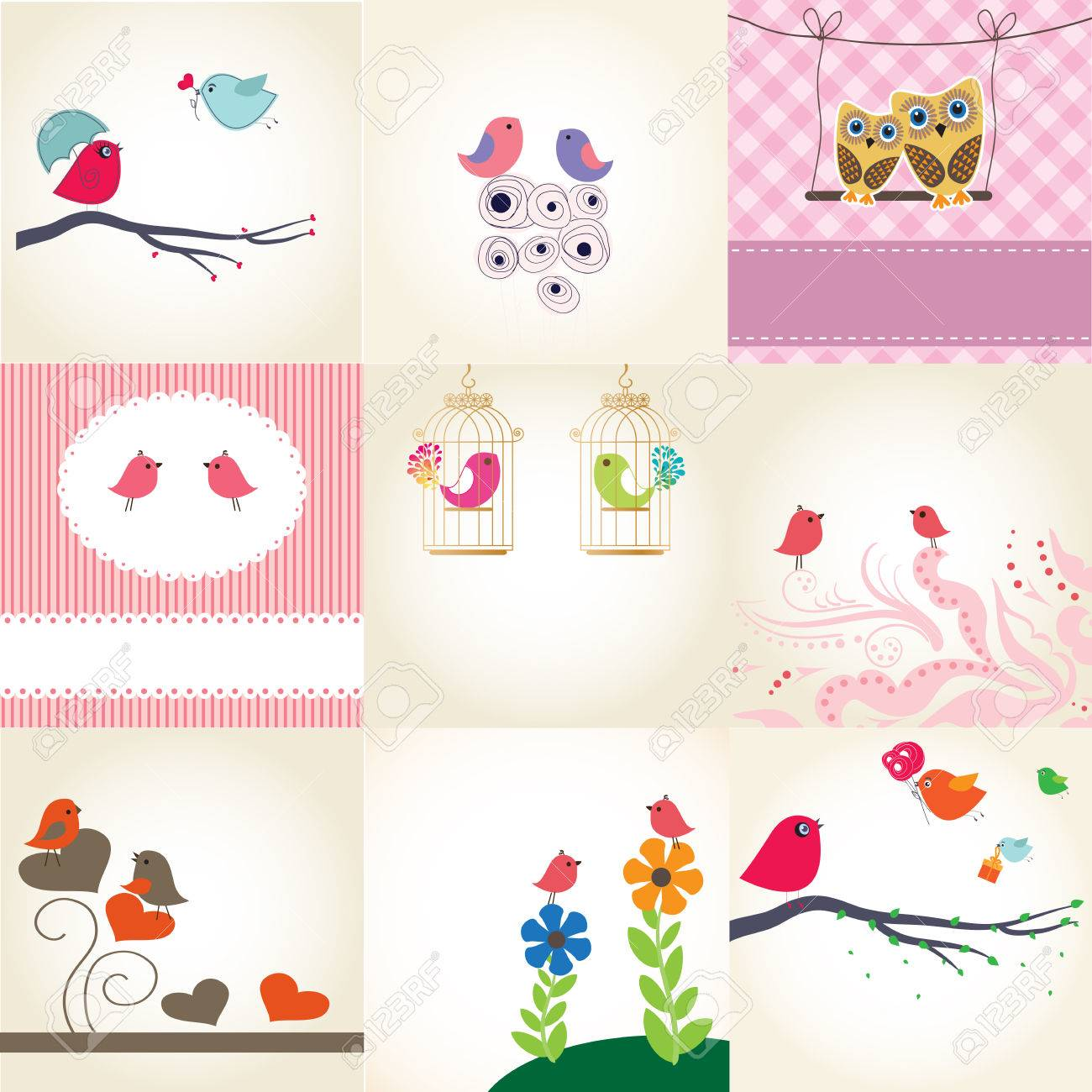 Cute valentine`s card with birds couple in love Stock Vector - 8877679