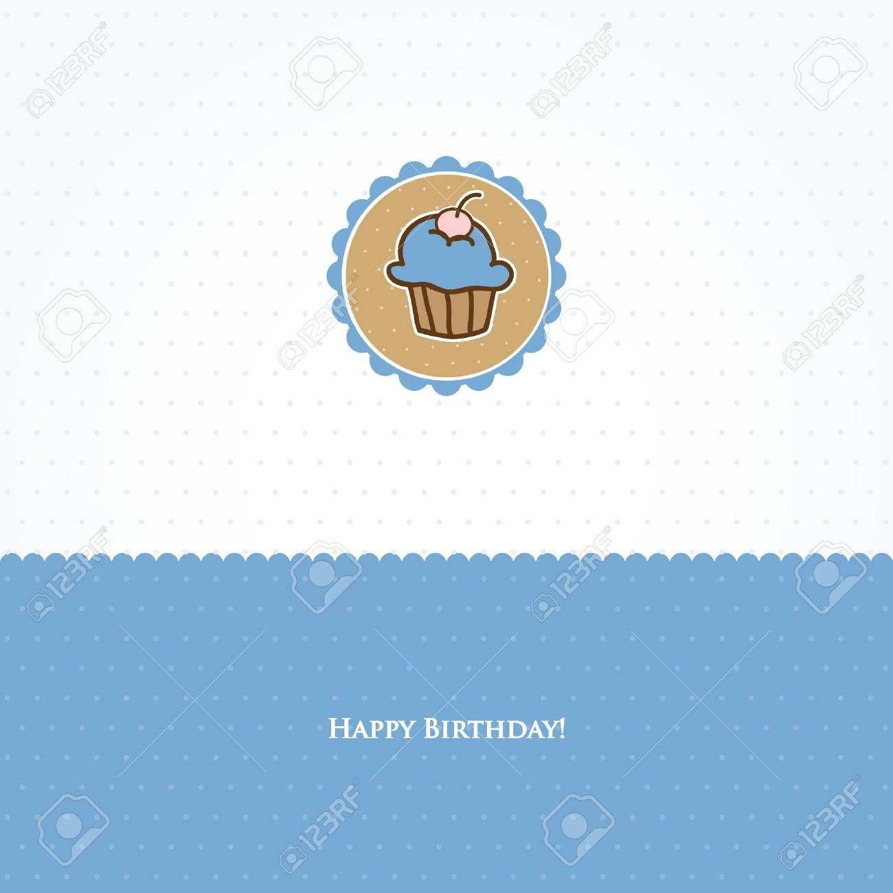 Birthday card with cute cupcake Stock Photo - 10324976
