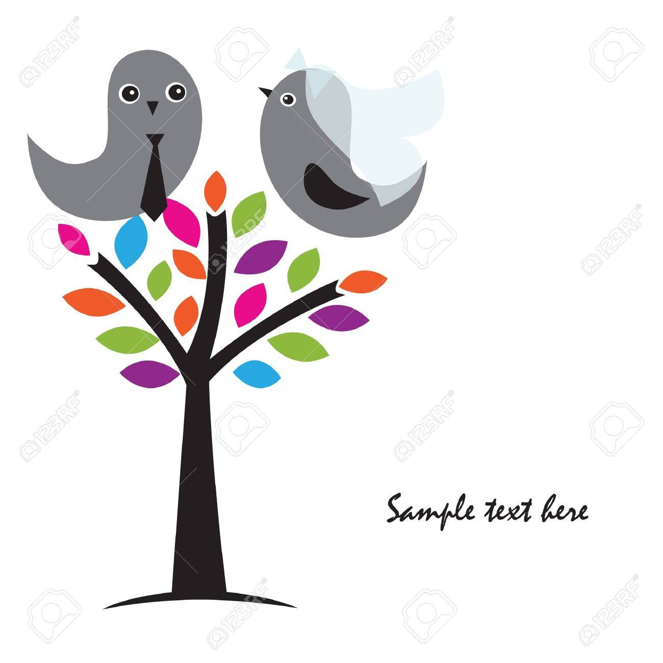Wedding invitation with two cute birds in bride and groom costumes Stock Photo - 10324975