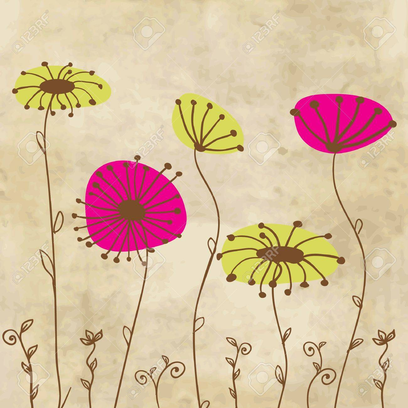 Vintage floral background with hand drawn flowers Stock Vector - 10513310