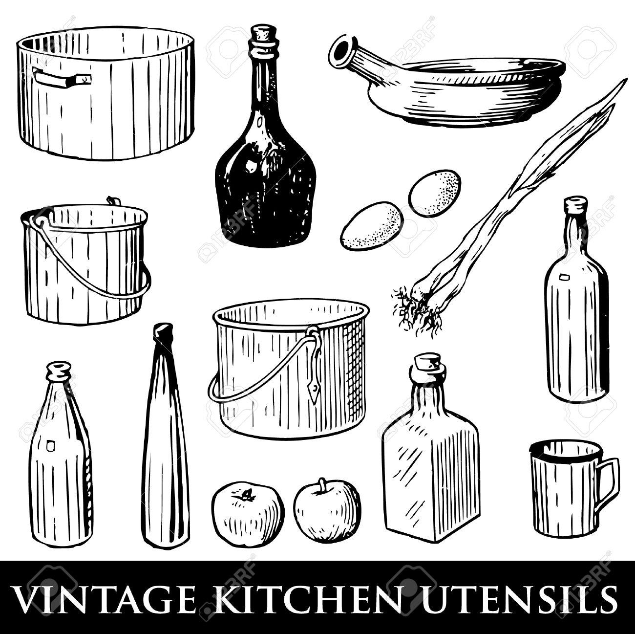 Vintage Kitchen Utensils Illustration set of vintage kitchen utensils royalty free cliparts, vectors