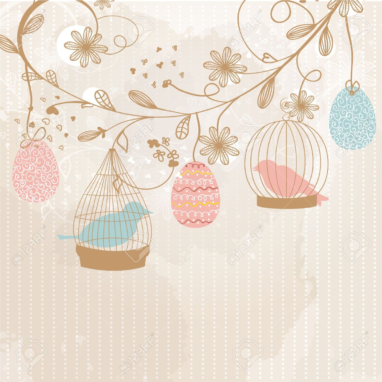 Easter card with cute birds in the cages and patterned easter eggs Stock Vector - 12906407