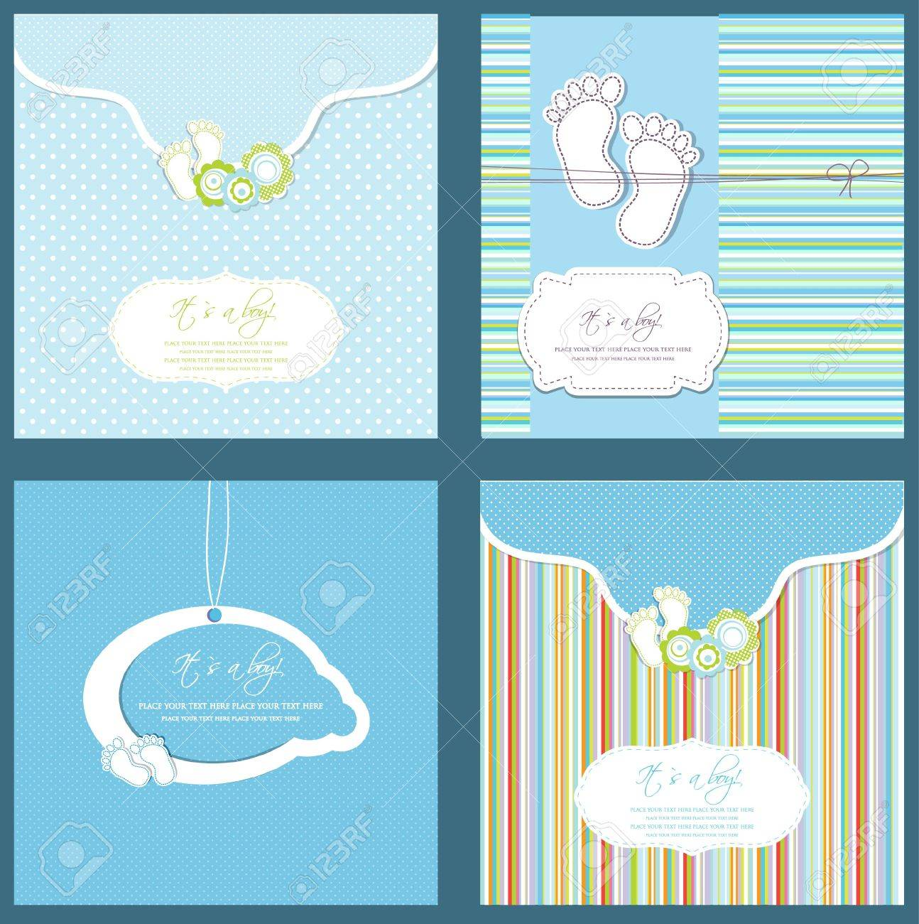 Set of four baby boy shower card in blue colors Stock Photo - 15554384