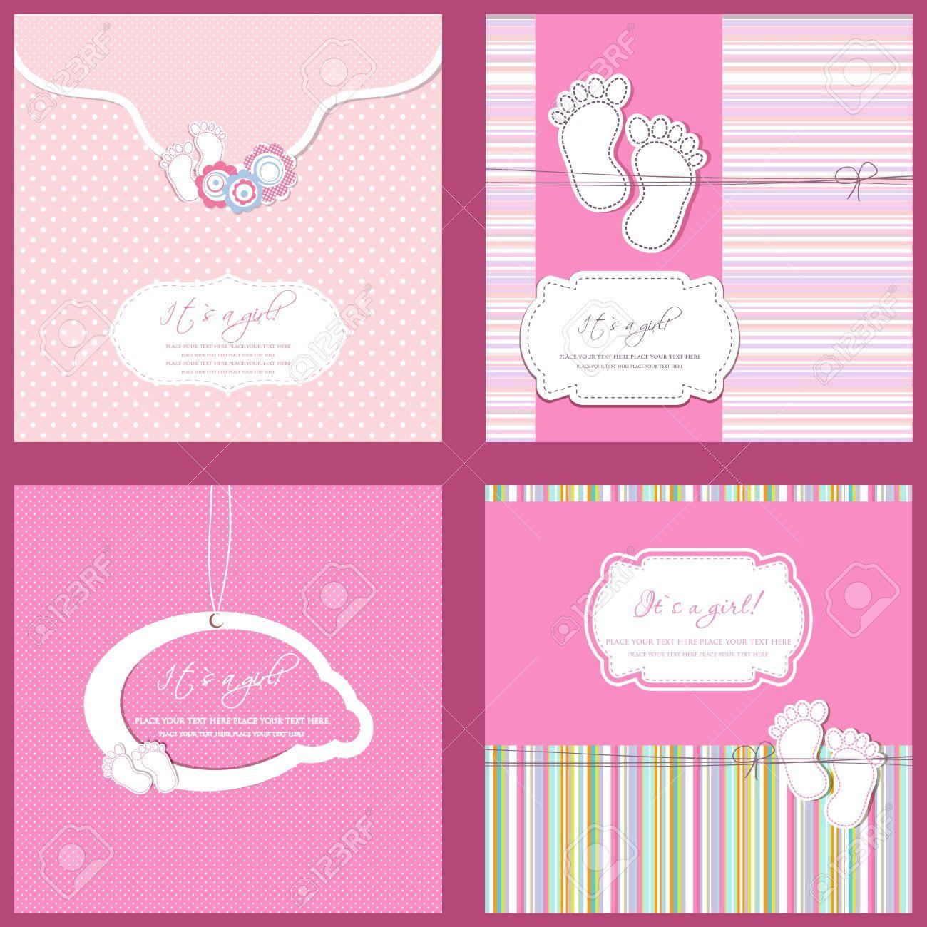 Juego De Cuatro Tarjetas Baby Shower Nina En Colores Rosa Fotos