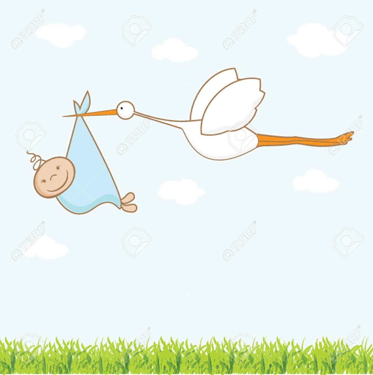 Baby arrival card with stork that brings a cute boy Stock Vector - 19919323