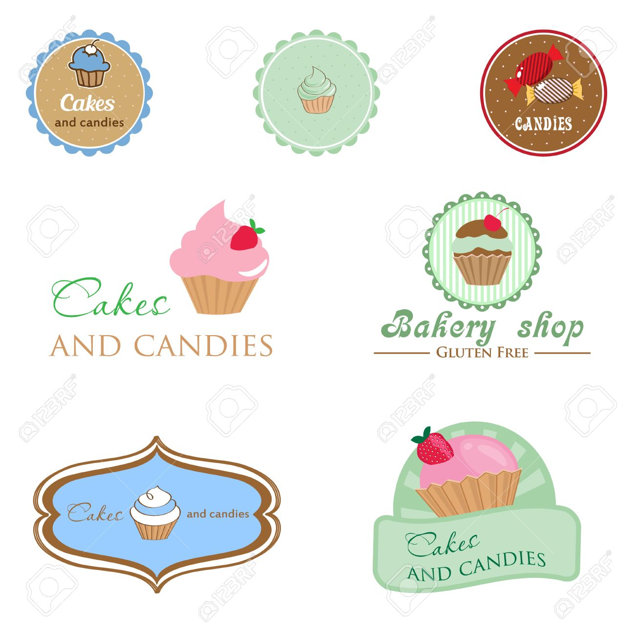 set of vintage style logo cupcake and candies good idea set of vintage style logo cupcake and candies good idea for label banner