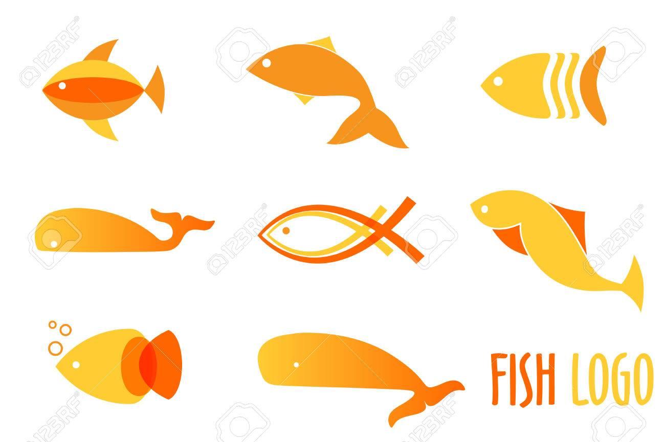 Vektor-Illustration Von Warmen Farben Goldene Fische. Abstract Fish ...