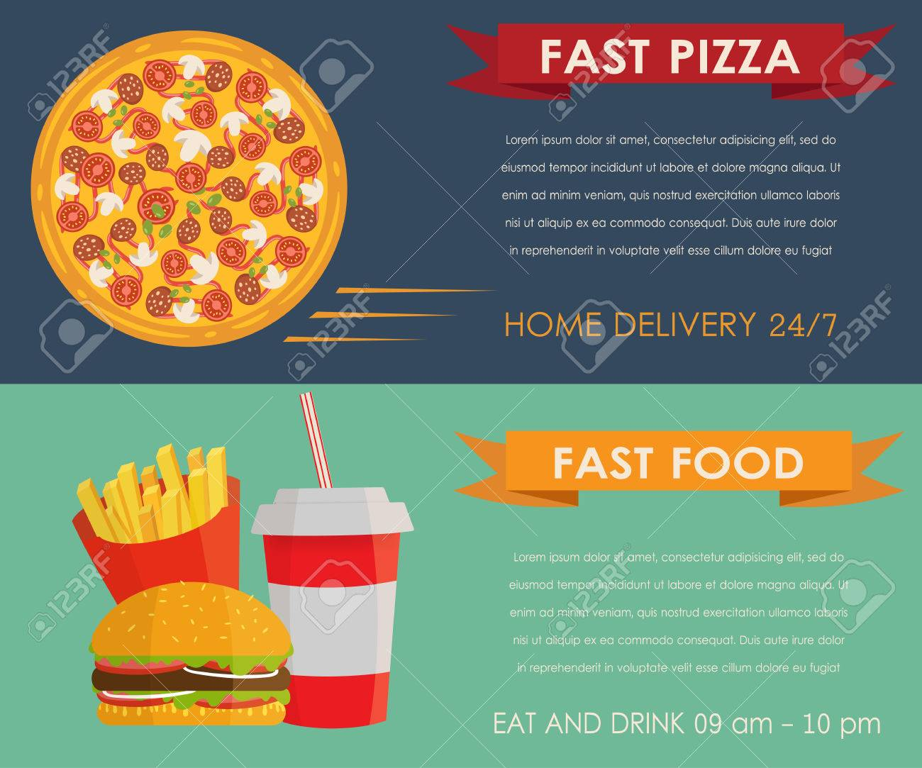 Two Fast Food Banners In Flat Style Horizontal Templates Design