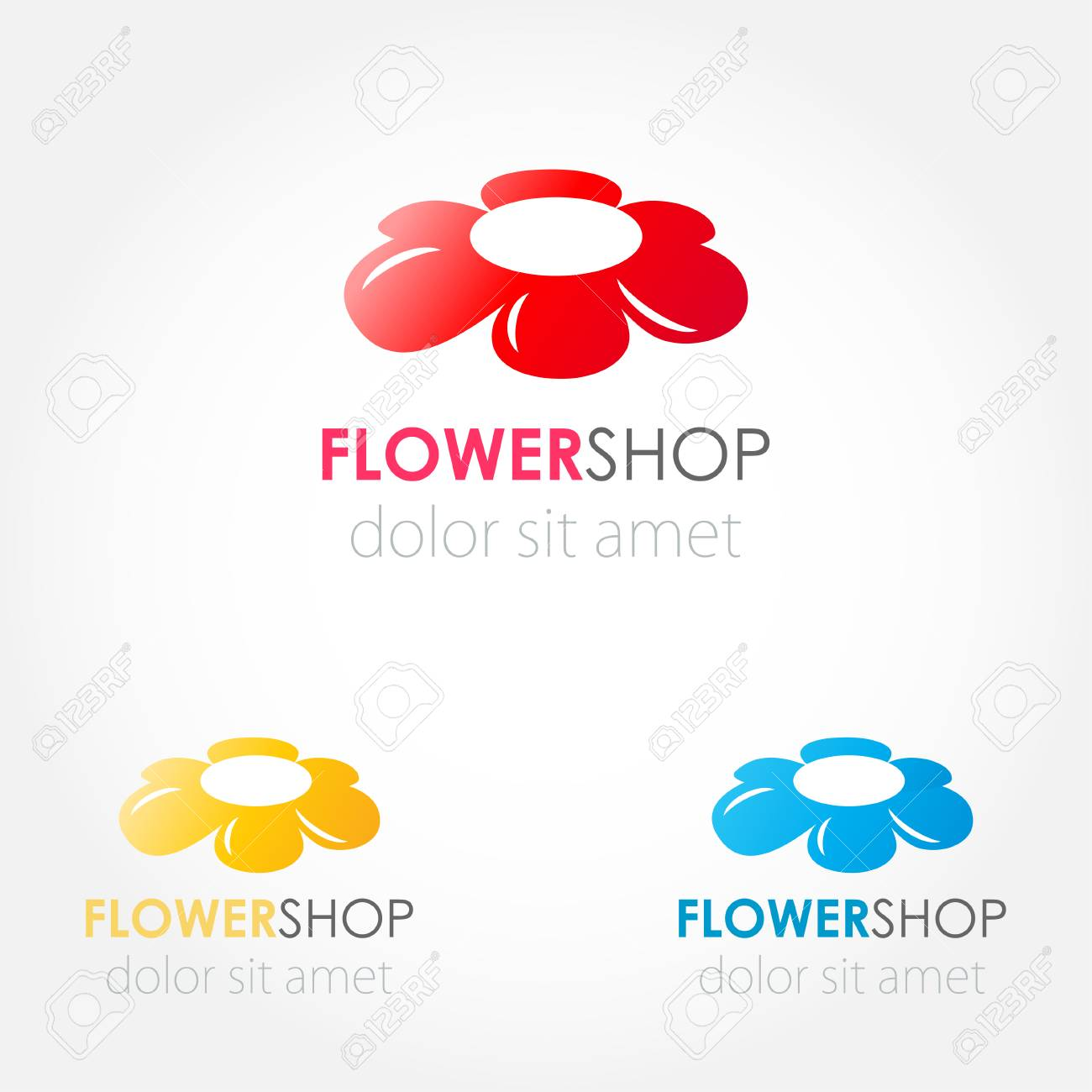 Abstract Flowers Logo Set Red Blue And Yellow Flowers Vector