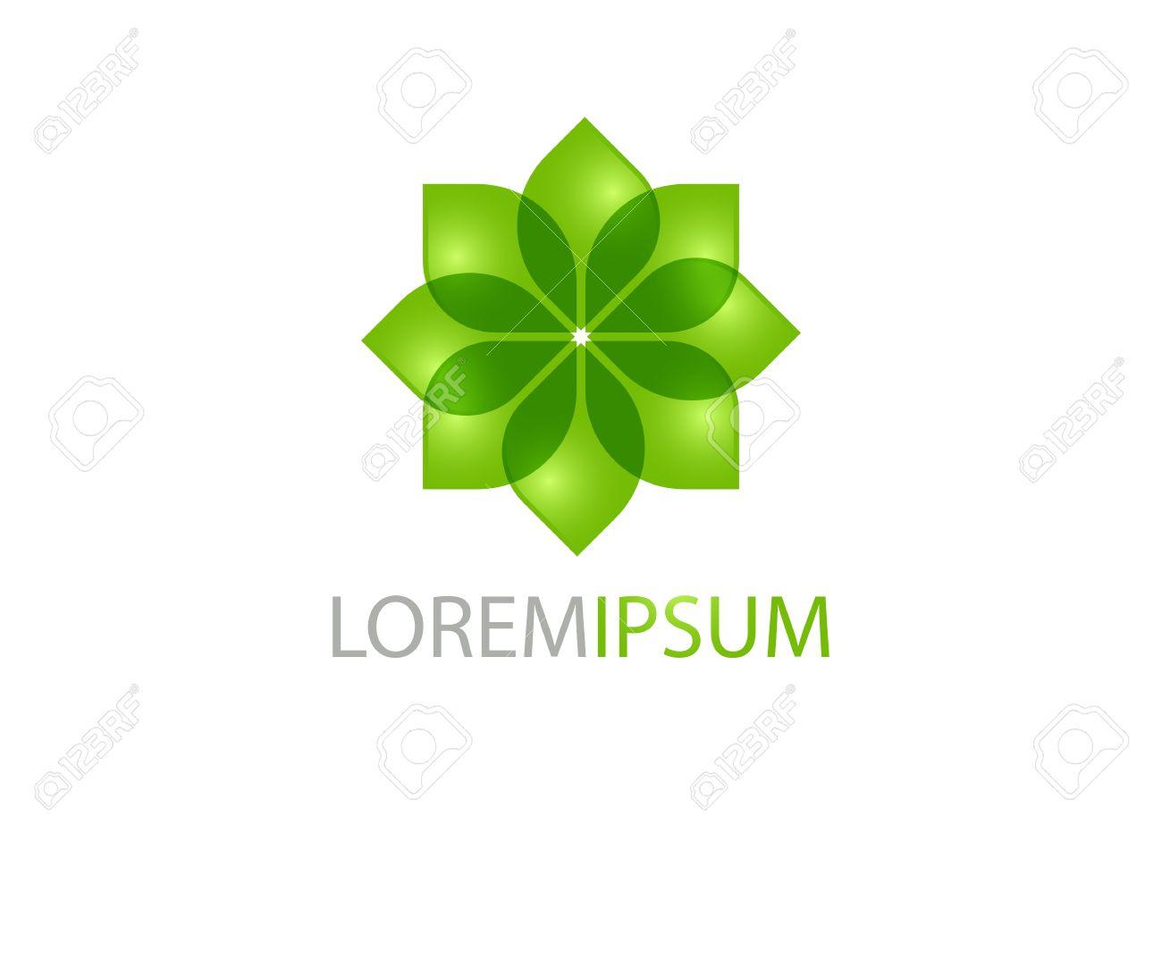 Diseño De Logotipo Con La Flor Verde. Puede Ser Utilizado Para ...