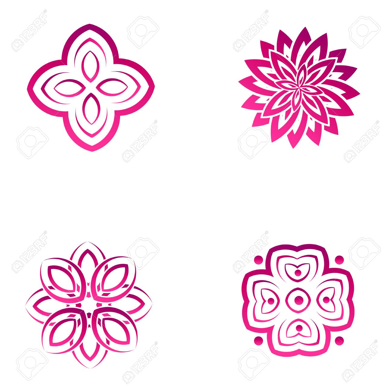 Set Of Four Pink Flower Abstract Icon Designs Vector Template