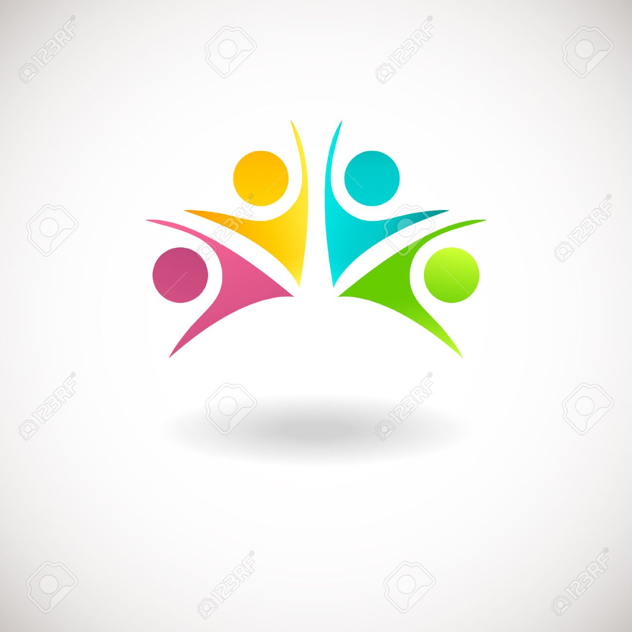 abstract people logo sign icon blue pink green and yellow