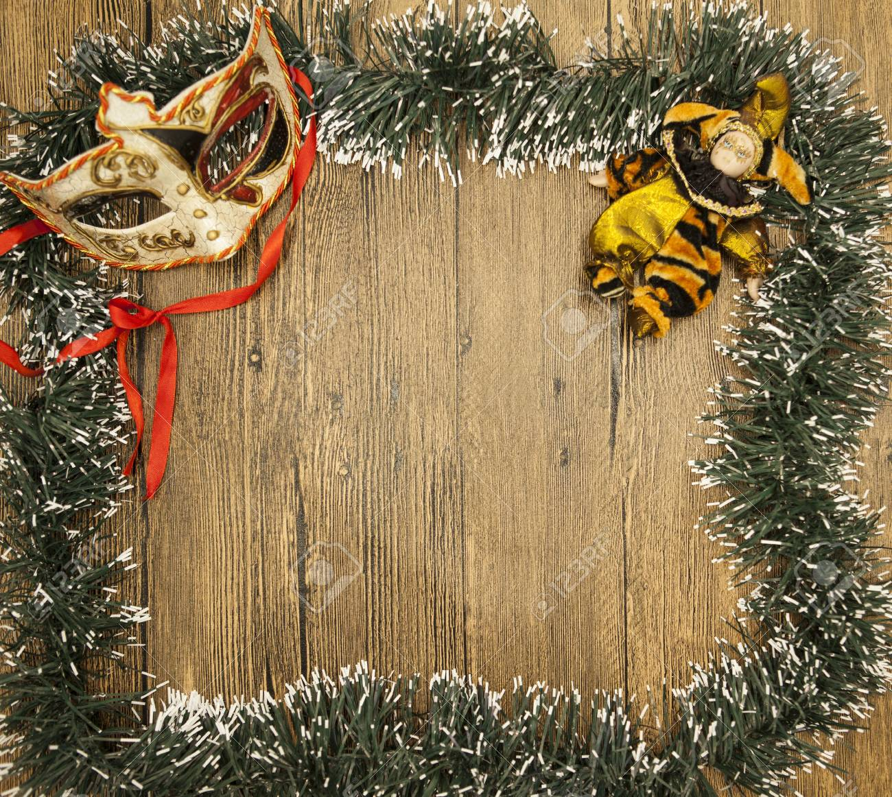 christmas card from christmas trees with masquerade mask and stock
