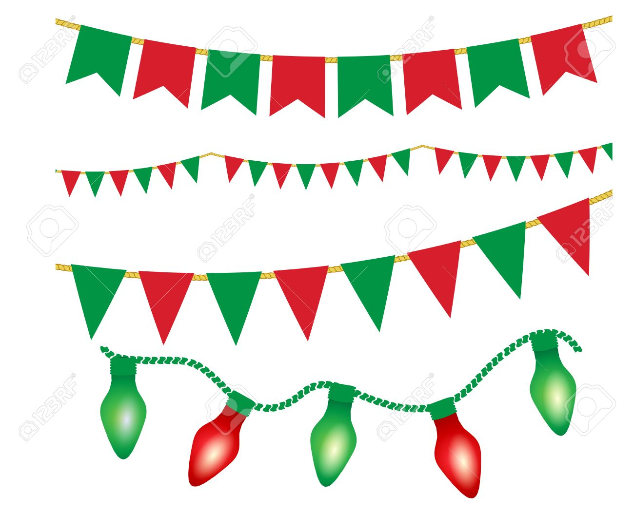 christmas lights ans flag garlands set red and green christmas elements vector illustration for - Green And Red Christmas Lights