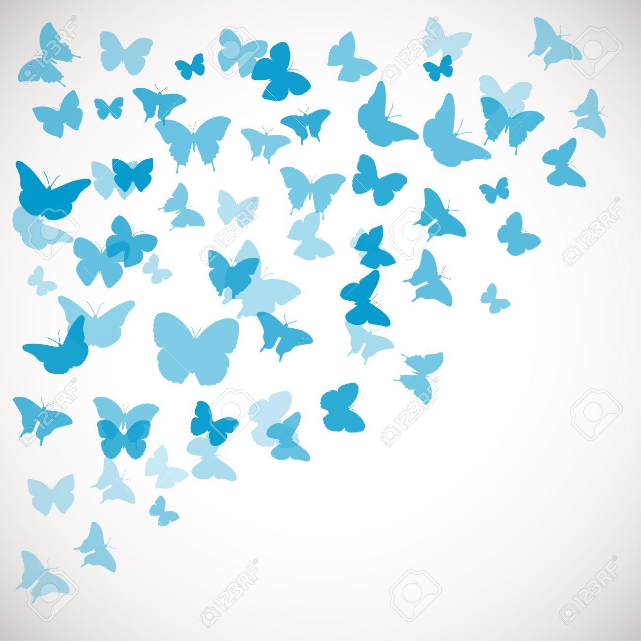 抽象的な蝶背景。青い蝶のベクター イラストです。結婚式、挨拶、招待