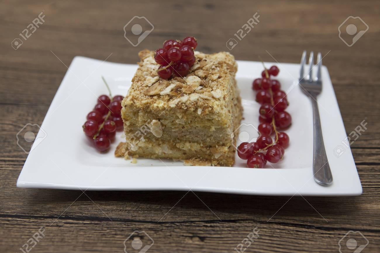 Frische Leckere Diat Kuchen Mit Beeren Rote Johannisbeere Auf Dukan